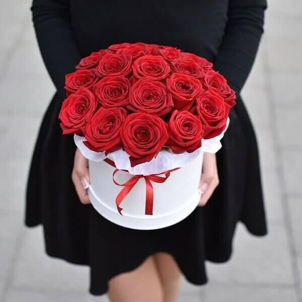Raudonos rožės gėlių dėžutėje