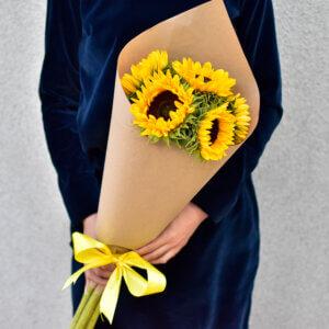 Saulėgrąžų puokštė gimtadienio gėlės
