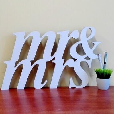"""Pastatoma dekoracija """"Mr&Mrs"""""""