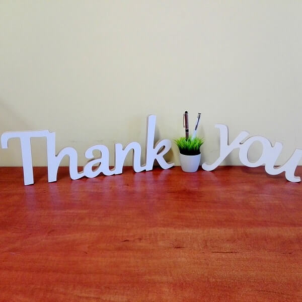 "Pastatomas žodis ""Thank you"""