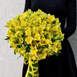Vienos spalvos alstromerijų puokštė gėlės gimtadienio proga