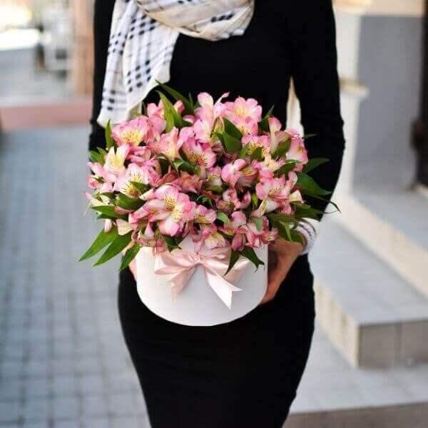 Монохромные цветы альстромерии в коробках
