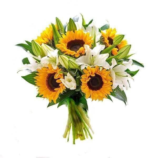 Lelijos ir saulėgrąžos gėlių puokštės