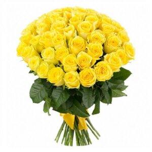 Geltonos rožės gėlių puokštė