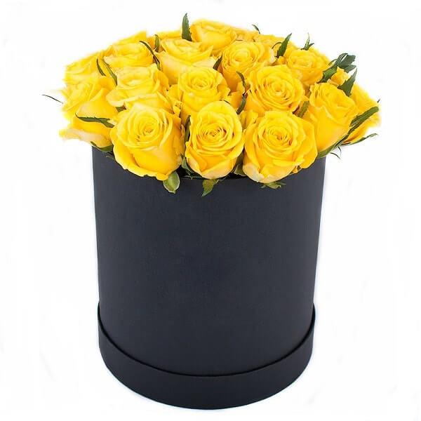 Geltonų rožių dėžutė