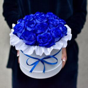 Mėlynų rožių dėžutė gėlės merginoms