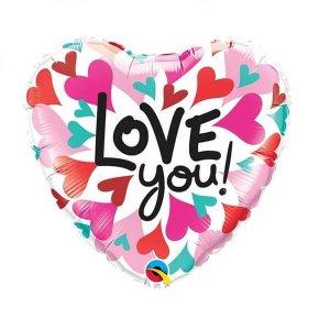 """Folinis helio balionas širdelė Folinis helio balionas širdelė """"Love you"""""""