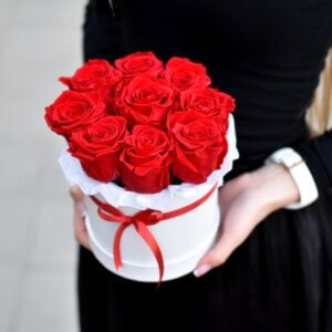 Raudonų stabilizuotų rožių dėžutė