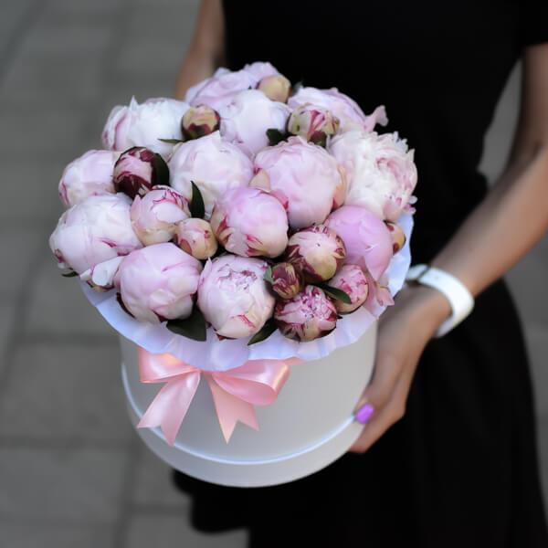 Monochromatic Peonies Box Flowers Delivery In Vilnius Gintarės Gėlės