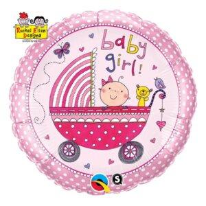 Rožinis helio balionas mažai mergaitei