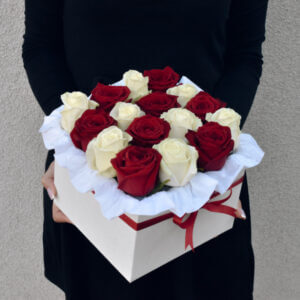 Red and white roses in a square box