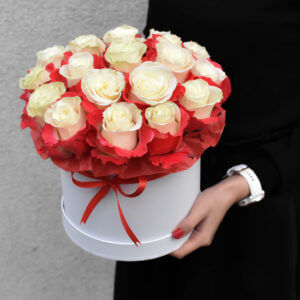 White roses in the box flowers for women