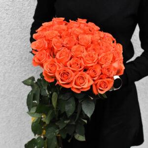 Gėlės merginoms oranžinių rožių puokštė