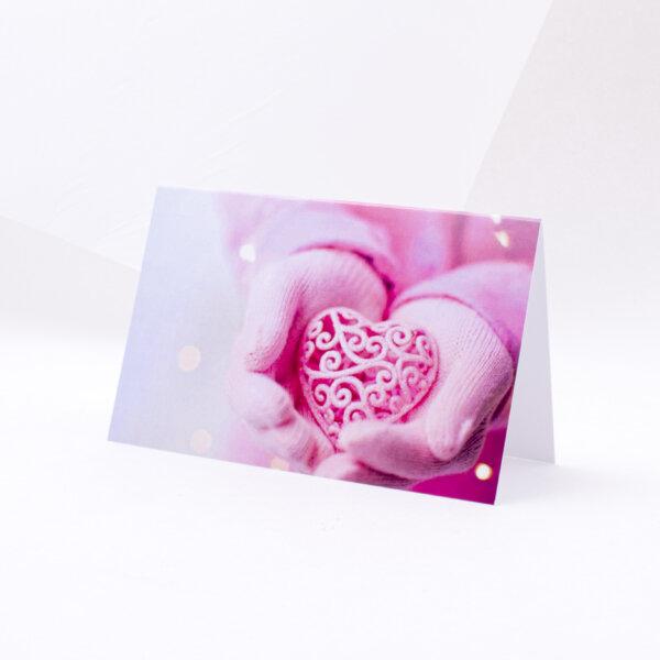 Atvirukas įvairiomis progomis rožinė širdis